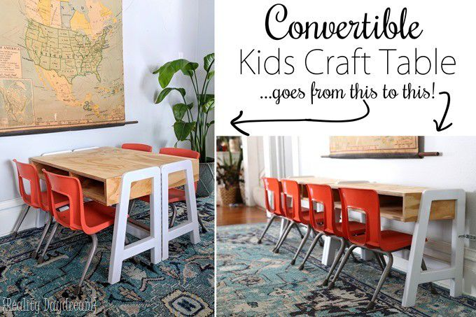 Convertible-Kids-Craft Table white and wood Reality Daydream