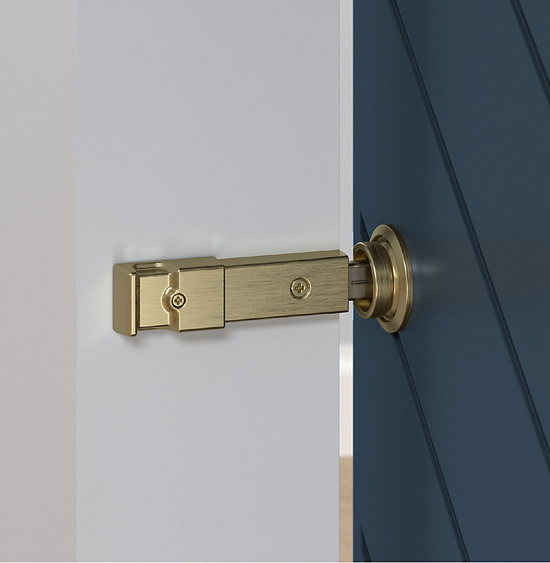 Brushed Barn Door Lock Close Up