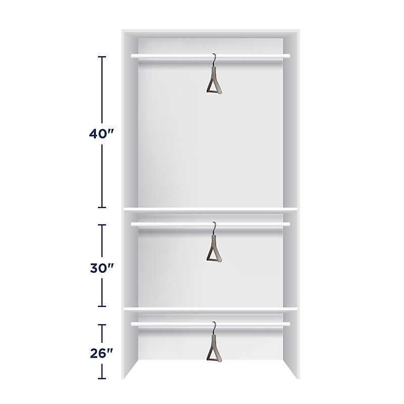 Height for Closet Rods - Triple