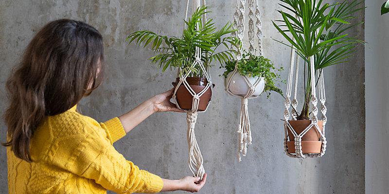 woman using hanging plants hardware